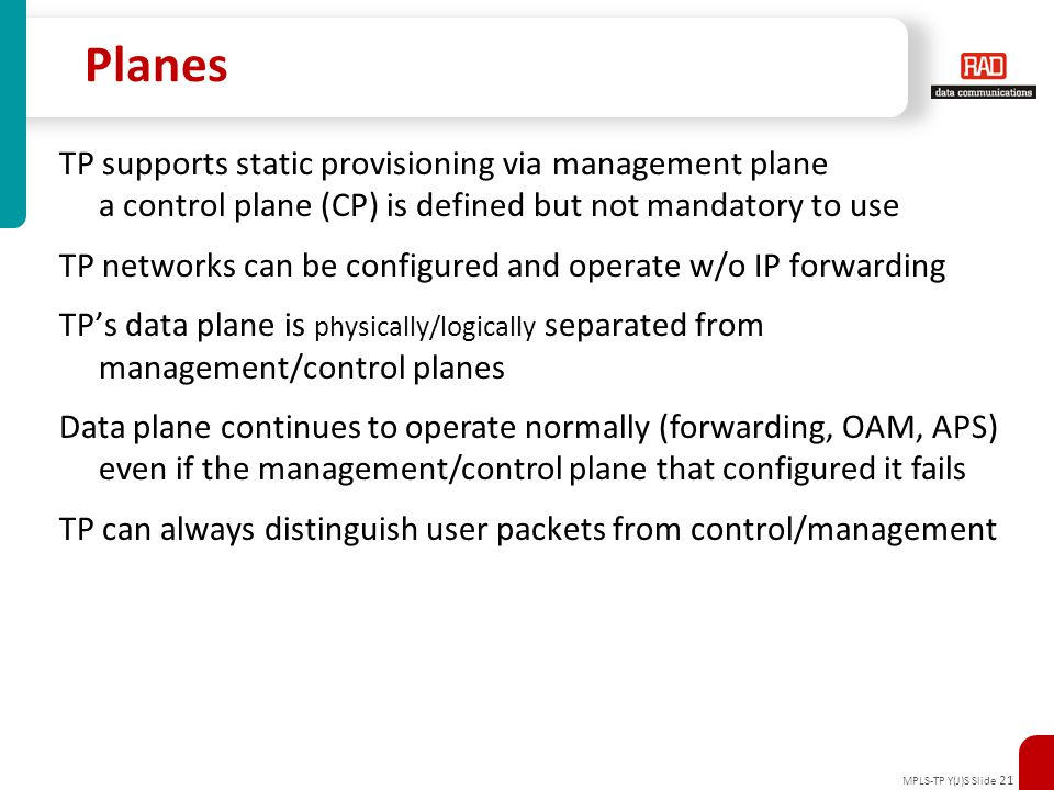 Planes TP supports static provisioning via management plane
