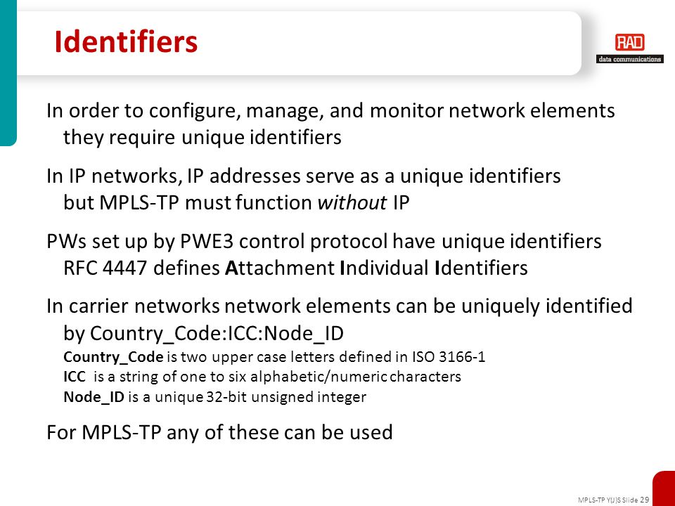Identifiers In order to configure, manage, and monitor network elements. they require unique identifiers.