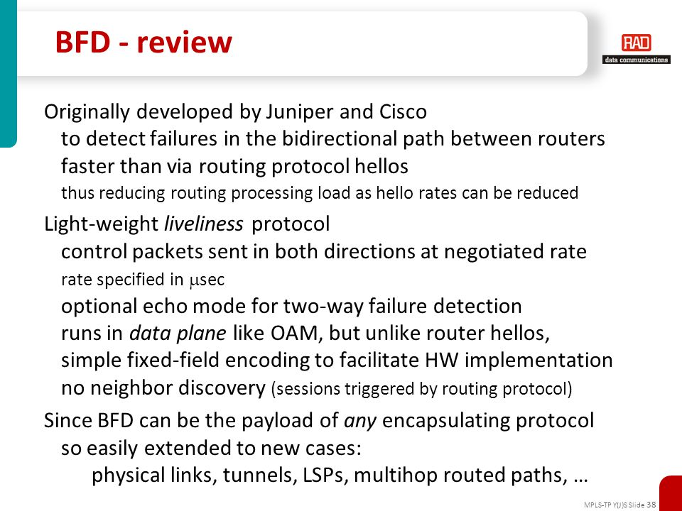 BFD - review Originally developed by Juniper and Cisco