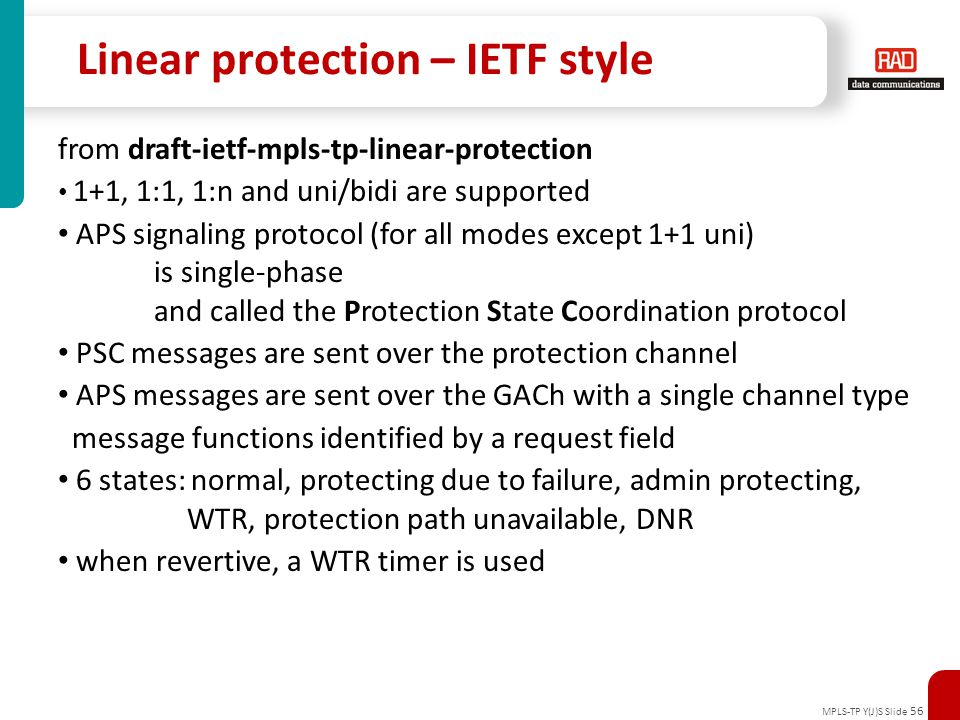 Linear protection – IETF style