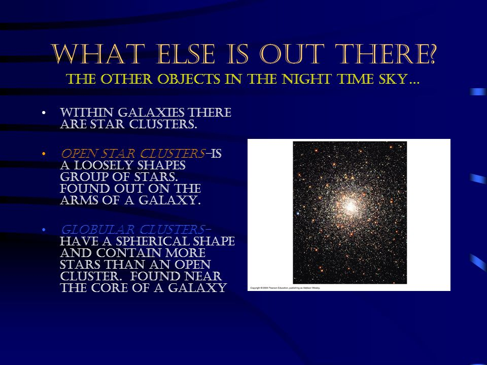WHAT ELSE IS OUT THERE The other objects in the night time sky…