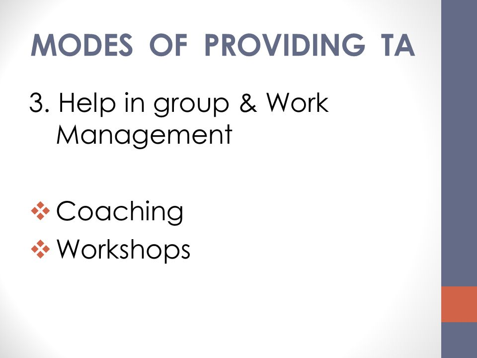 MODES OF PROVIDING TA 3. Help in group & Work Management Coaching