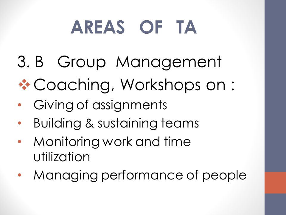 AREAS OF TA 3. B Group Management Coaching, Workshops on :