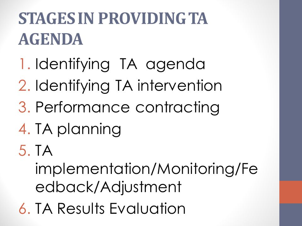 STAGES IN PROVIDING TA AGENDA