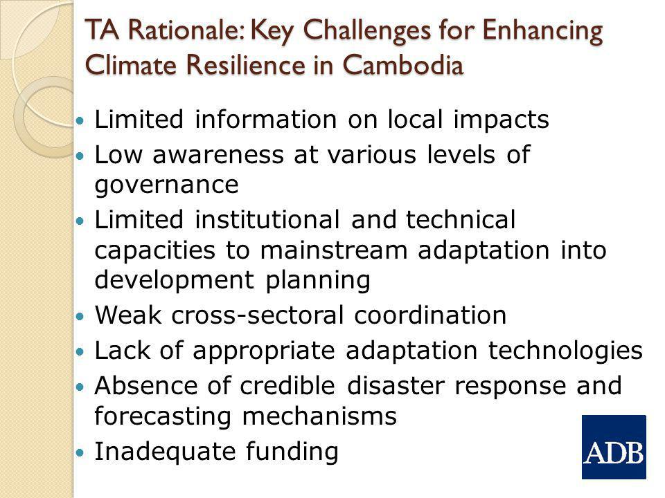 TA Rationale: Key Challenges for Enhancing Climate Resilience in Cambodia