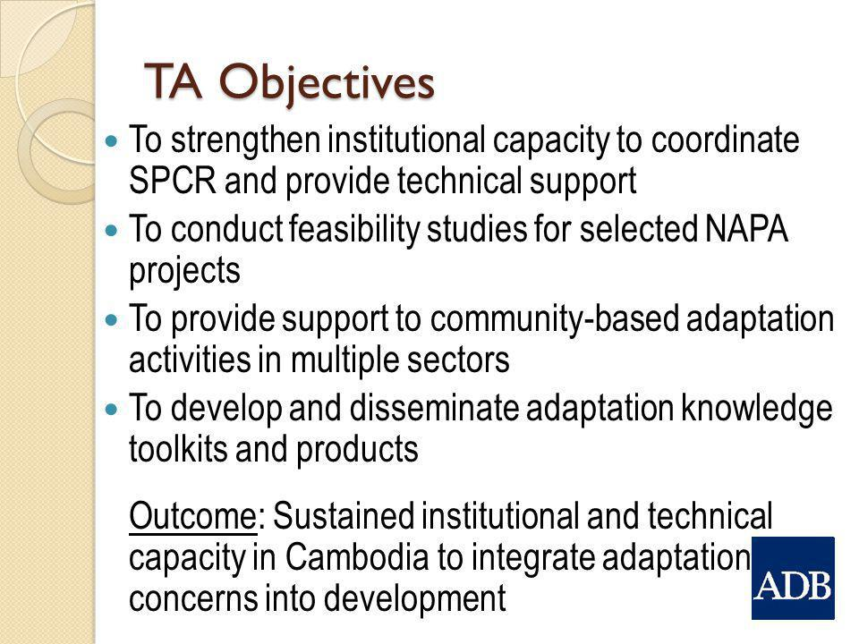 TA Objectives To strengthen institutional capacity to coordinate SPCR and provide technical support.