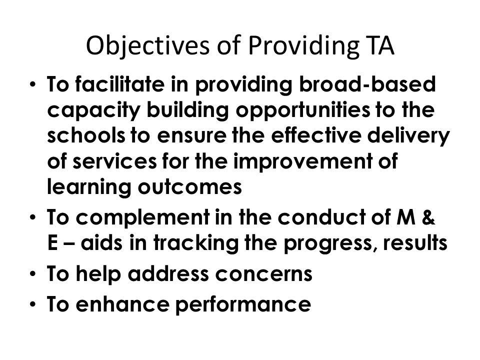 Objectives of Providing TA