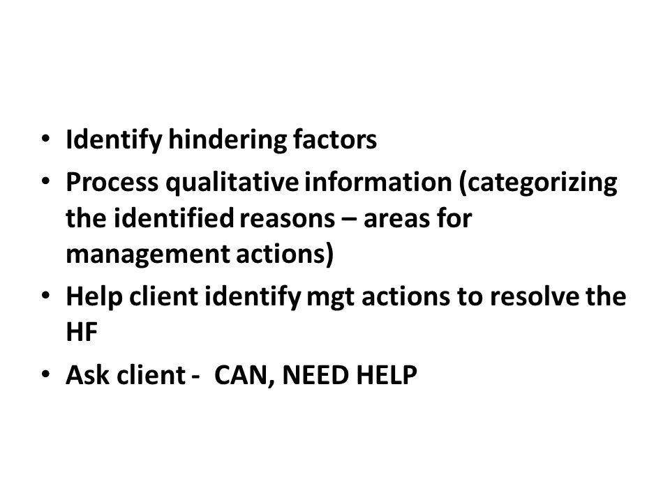 Identify hindering factors