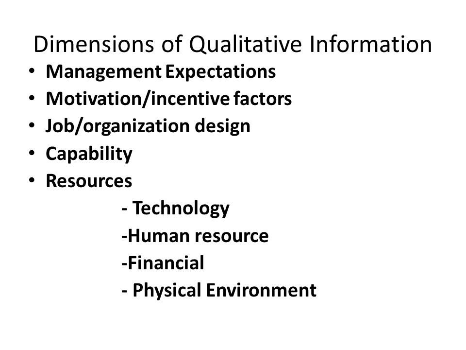 Dimensions of Qualitative Information