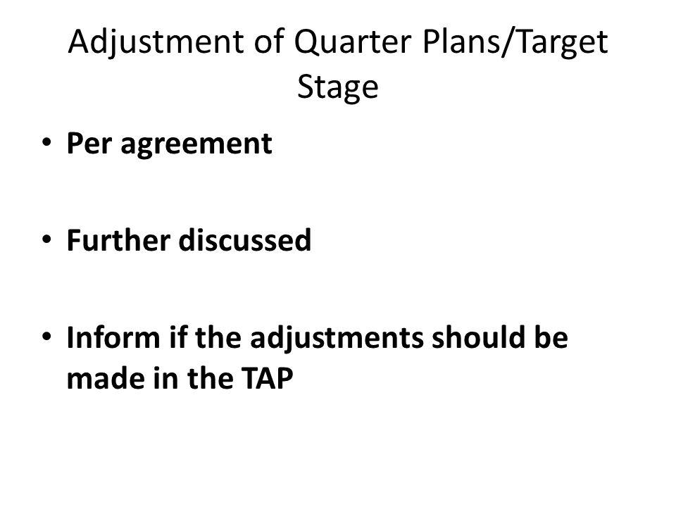 Adjustment of Quarter Plans/Target Stage