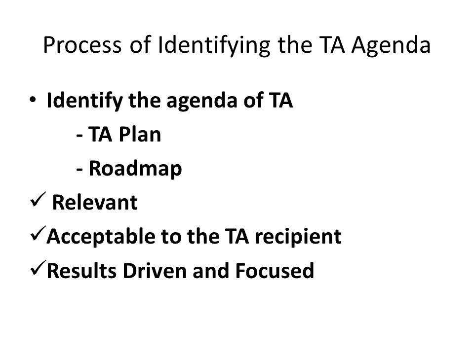 Process of Identifying the TA Agenda