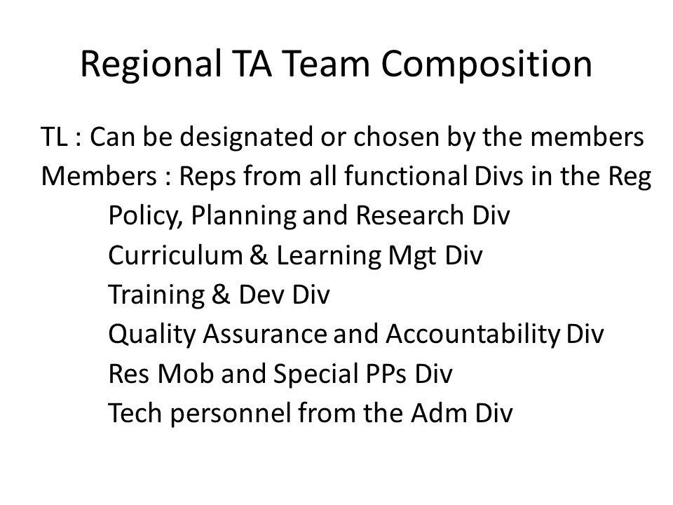 Regional TA Team Composition