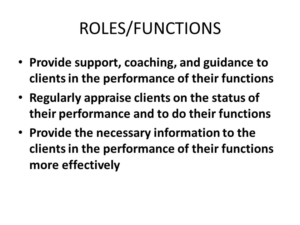 ROLES/FUNCTIONS Provide support, coaching, and guidance to clients in the performance of their functions.