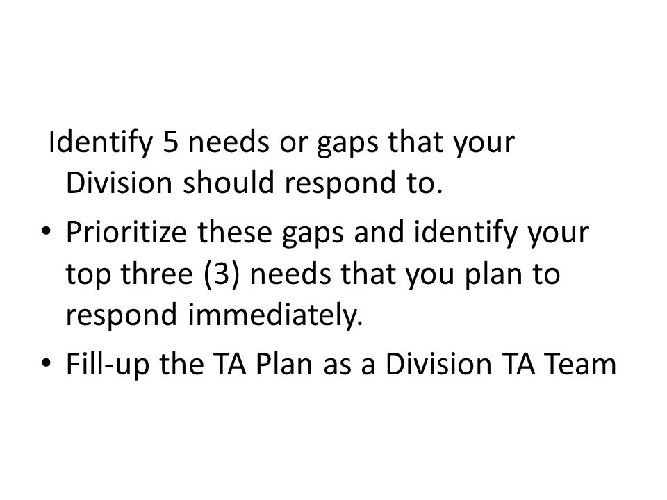 Identify 5 needs or gaps that your Division should respond to.