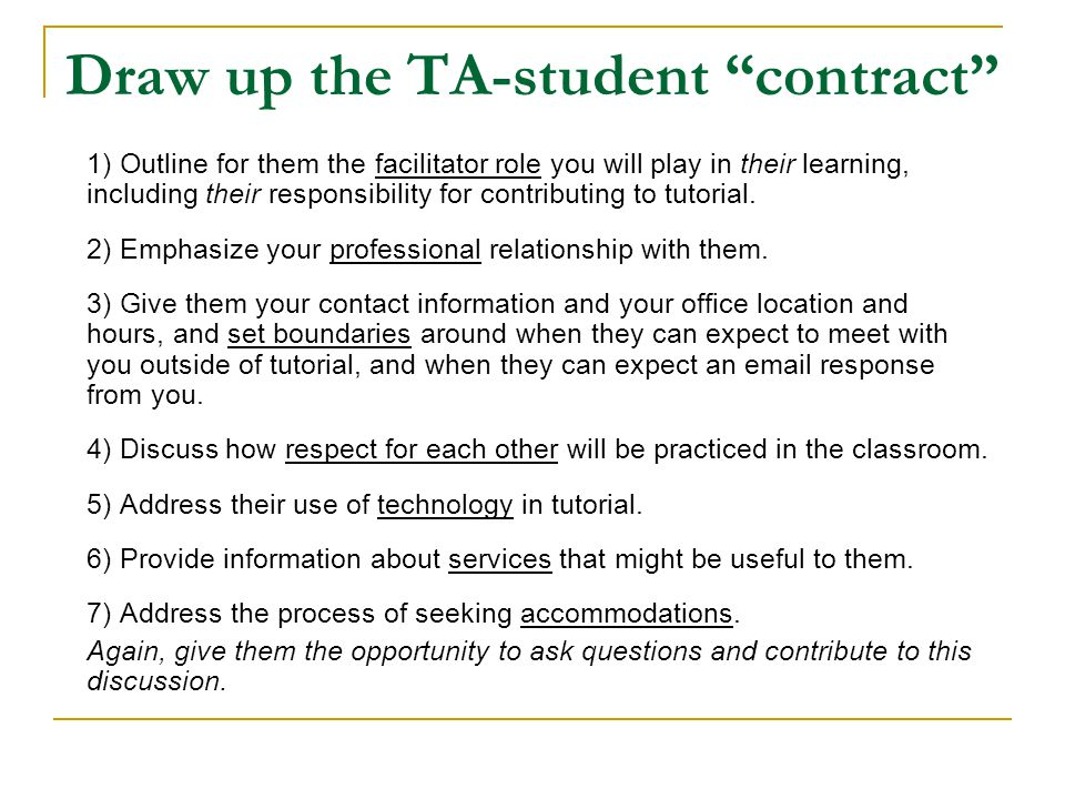 Draw up the TA-student contract