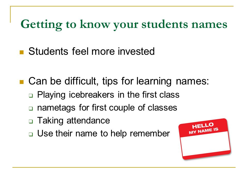 Getting to know your students names