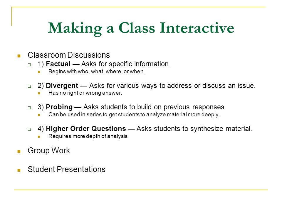 Making a Class Interactive