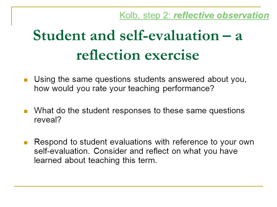 Student and self-evaluation – a reflection exercise