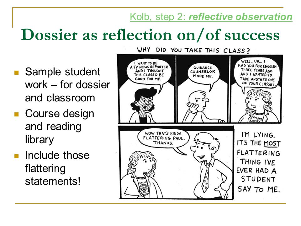 Dossier as reflection on/of success