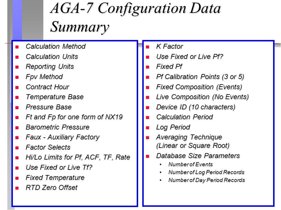 AGA-7 Configuration Data Summary