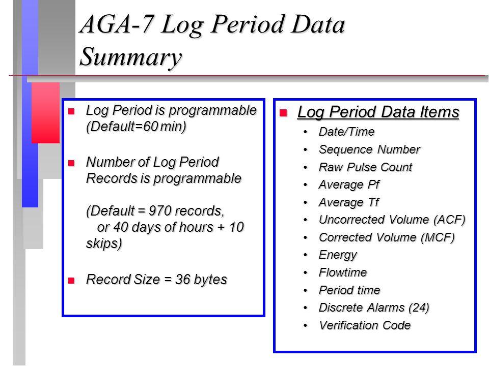 AGA-7 Log Period Data Summary