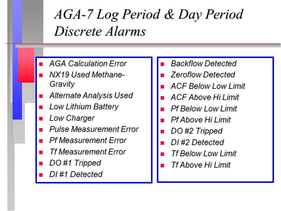 AGA-7 Log Period & Day Period Discrete Alarms