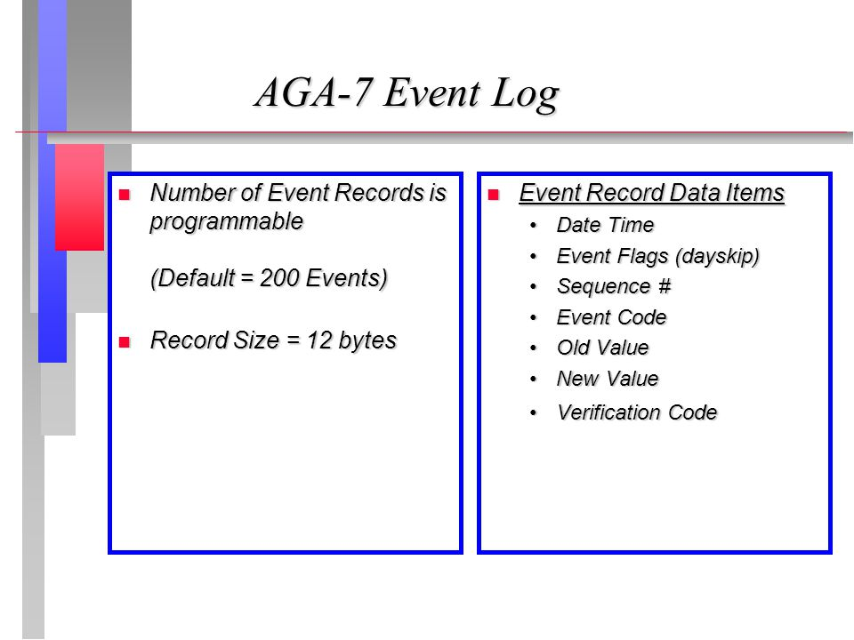 AGA-7 Event Log Number of Event Records is programmable (Default = 200 Events) Record Size = 12 bytes.