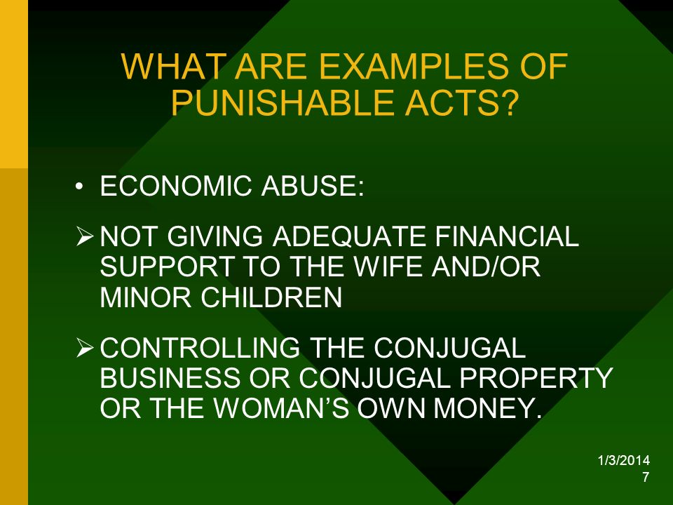 WHAT ARE EXAMPLES OF PUNISHABLE ACTS