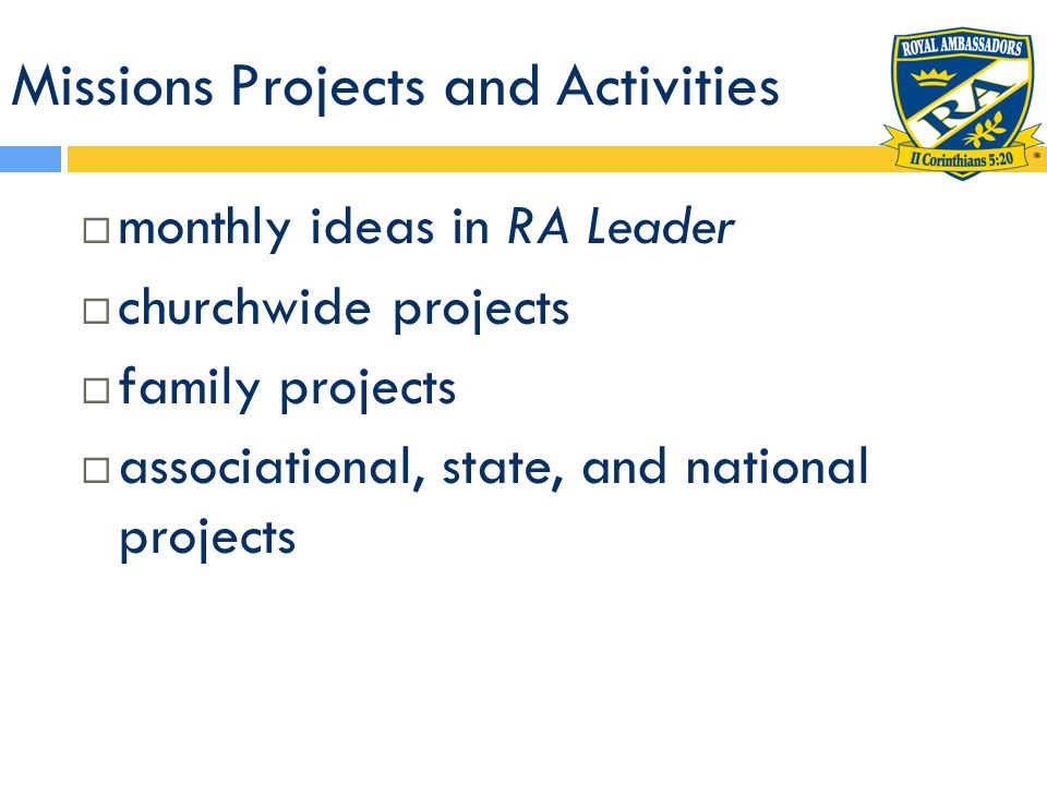 Missions Projects and Activities