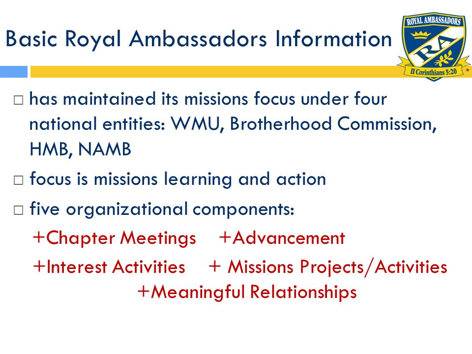 Basic Royal Ambassadors Information