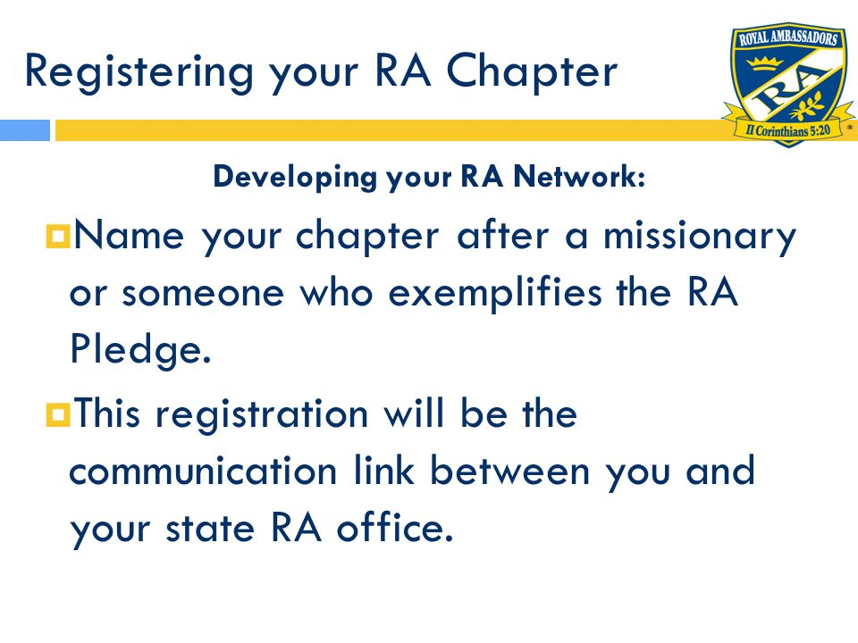 Registering your RA Chapter