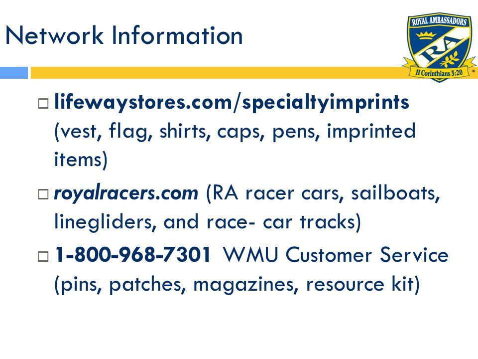 Network Information lifewaystores.com/specialtyimprints (vest, flag, shirts, caps, pens, imprinted items)