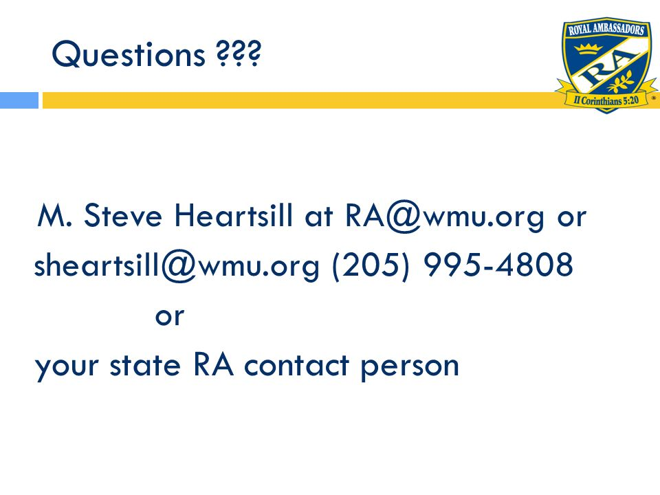 Questions your state RA contact person