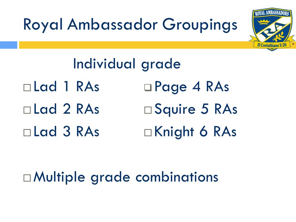 Royal Ambassador Groupings