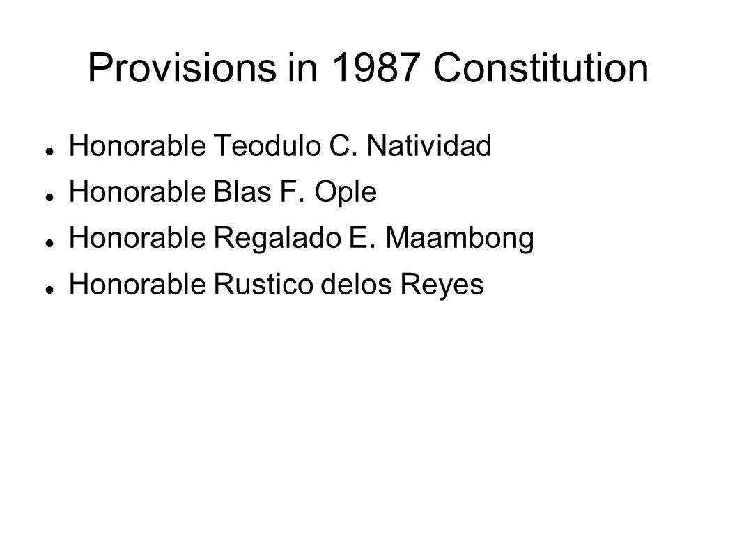 Provisions in 1987 Constitution