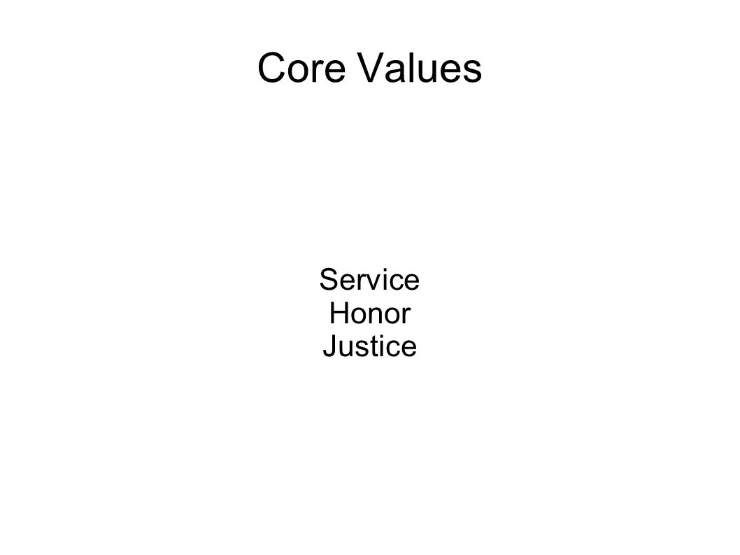 Core Values Service Honor Justice