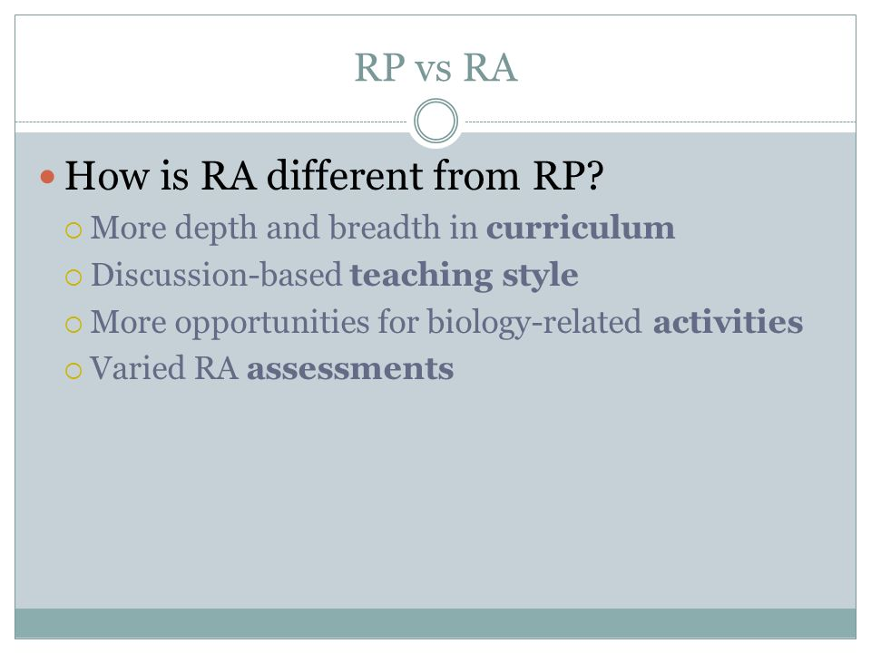 How is RA different from RP