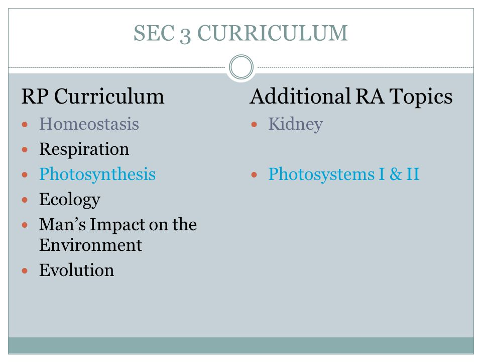 SEC 3 CURRICULUM RP Curriculum Additional RA Topics Homeostasis