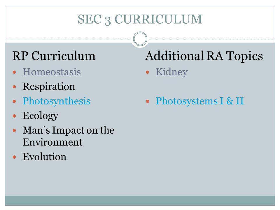 SEC 3 CURRICULUM RP Curriculum Additional RA Topics Homeostasis