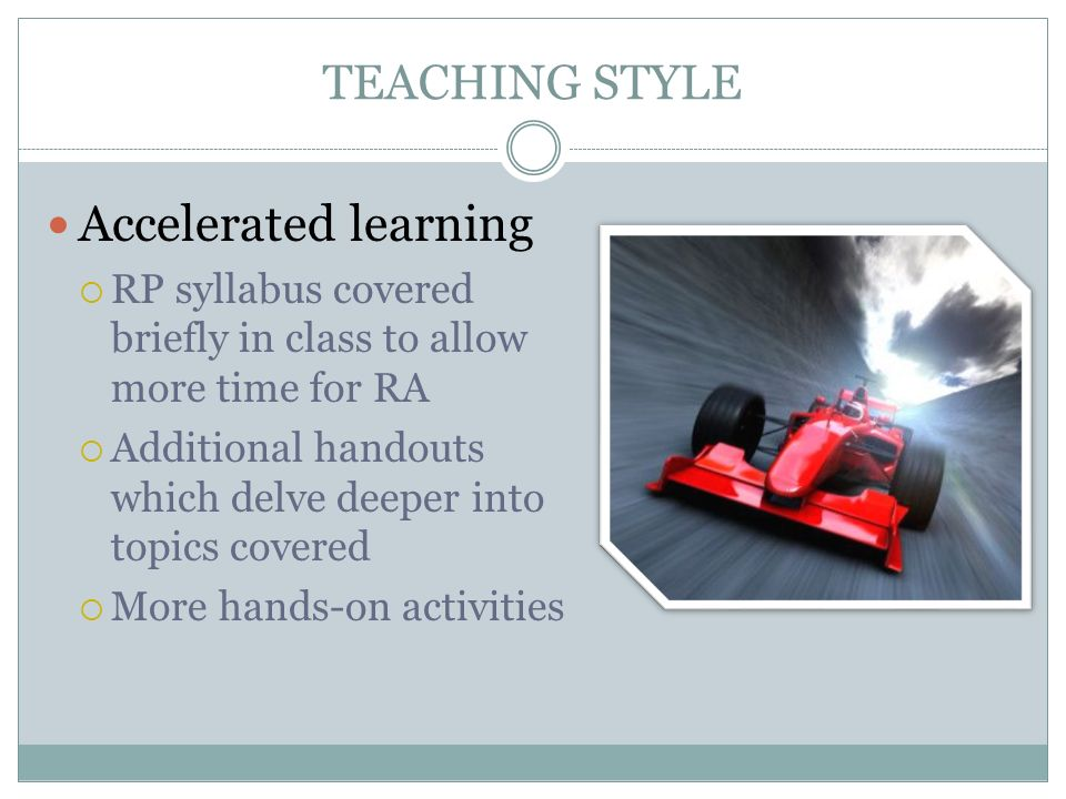 Accelerated learning TEACHING STYLE