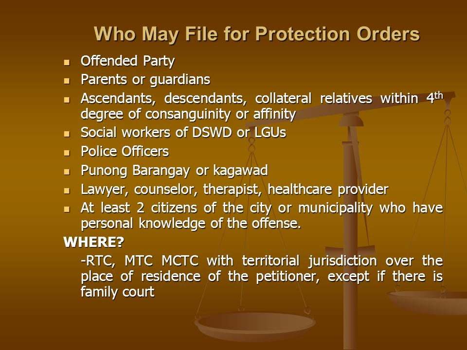 Who May File for Protection Orders