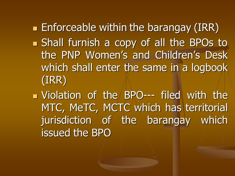 Enforceable within the barangay (IRR)