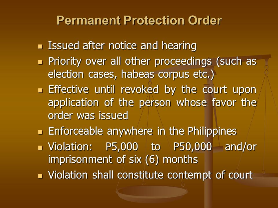 Permanent Protection Order