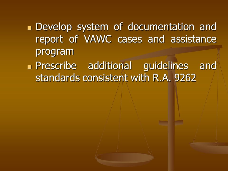 Develop system of documentation and report of VAWC cases and assistance program