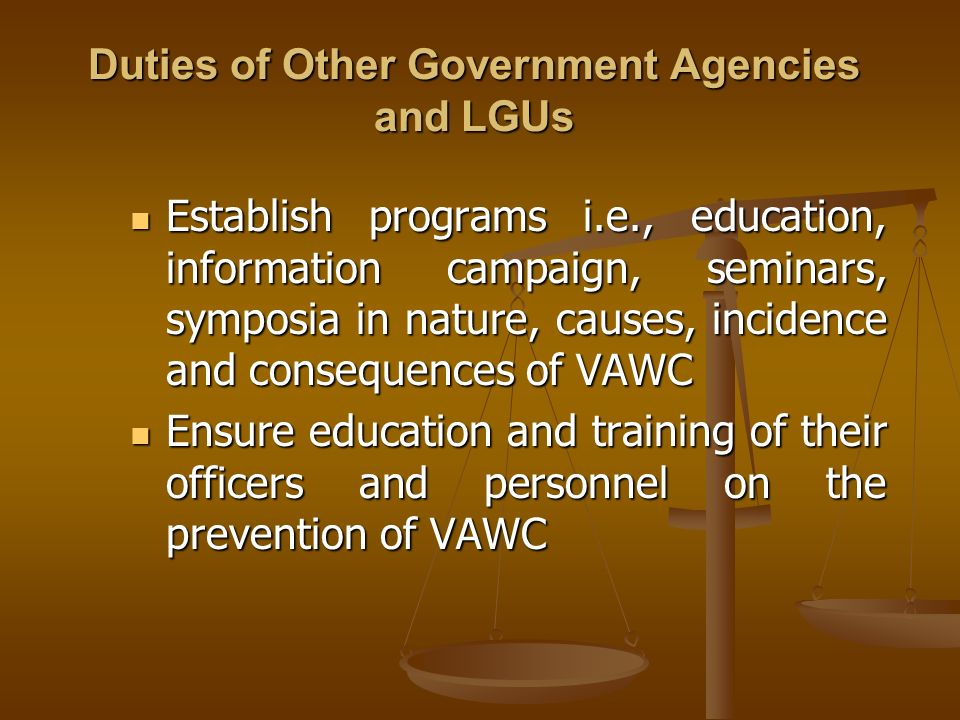 Duties of Other Government Agencies and LGUs