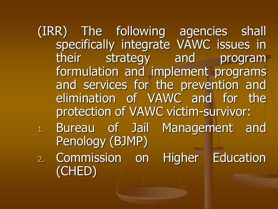 (IRR) The following agencies shall specifically integrate VAWC issues in their strategy and program formulation and implement programs and services for the prevention and elimination of VAWC and for the protection of VAWC victim-survivor: