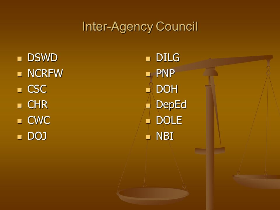 Inter-Agency Council DSWD NCRFW CSC CHR CWC DOJ DILG PNP DOH DepEd