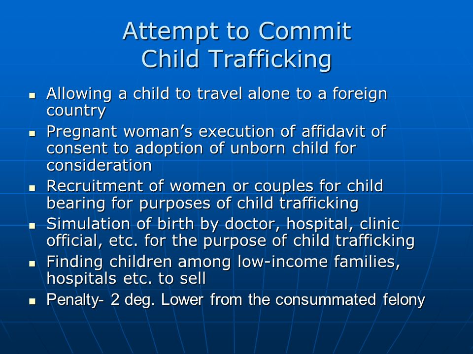 Attempt to Commit Child Trafficking