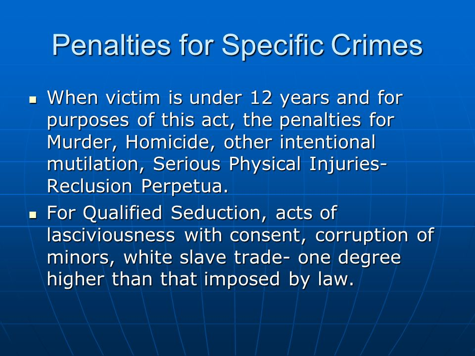 Penalties for Specific Crimes