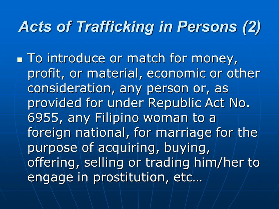 Acts of Trafficking in Persons (2)